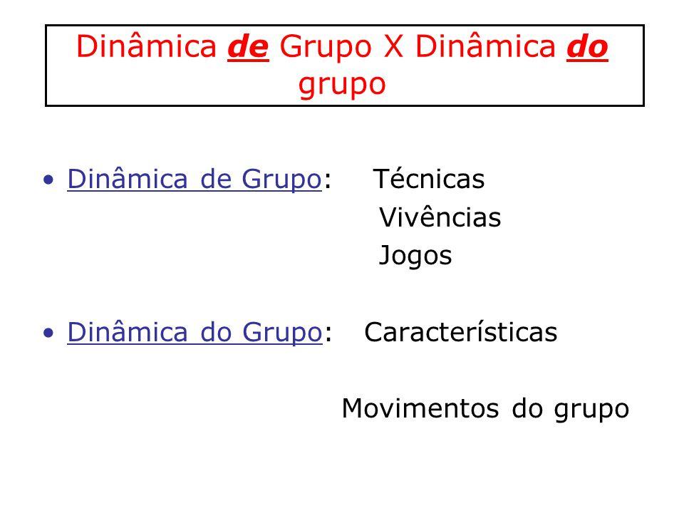 Dinâmica de Grupo X Dinâmica do grupo