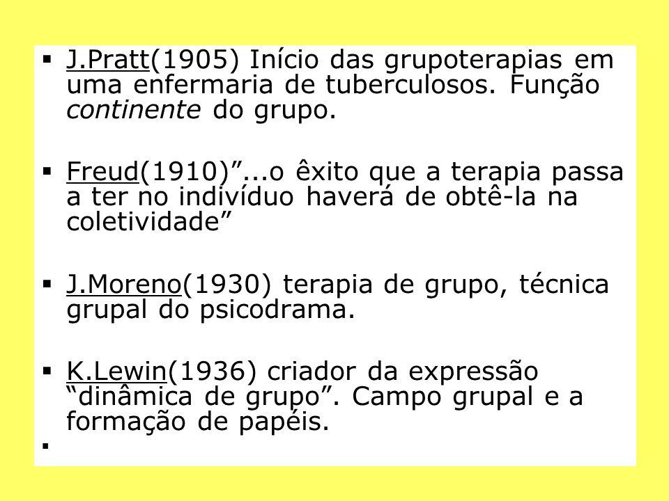 J.Pratt(1905) Início das grupoterapias em uma enfermaria de tuberculosos. Função continente do grupo.