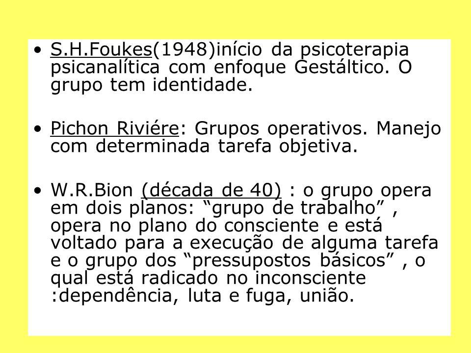 S.H.Foukes(1948)início da psicoterapia psicanalítica com enfoque Gestáltico. O grupo tem identidade.