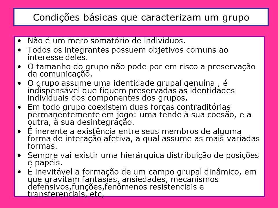 Condições básicas que caracterizam um grupo