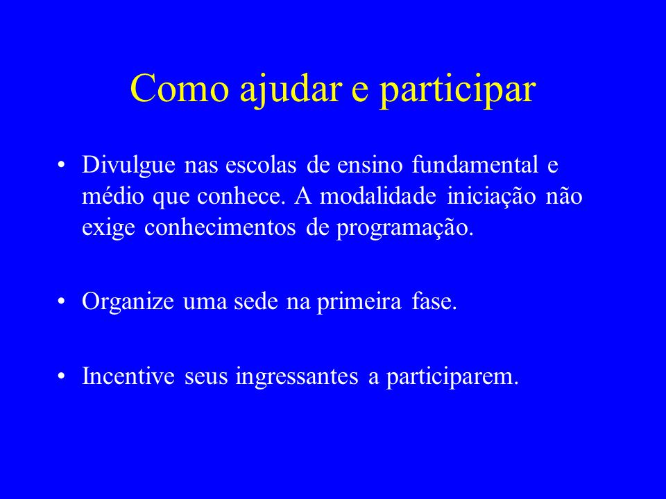 Como ajudar e participar