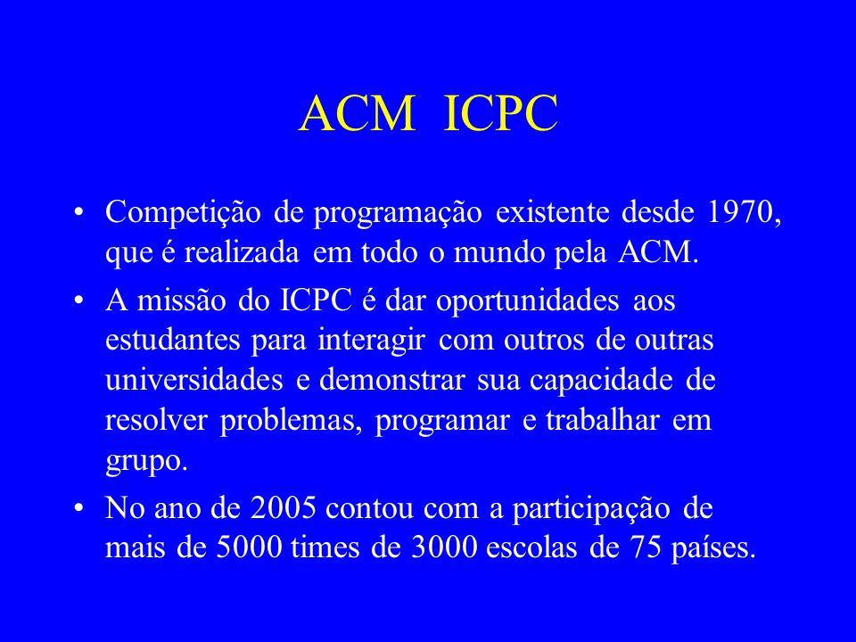 ACM ICPC Competição de programação existente desde 1970, que é realizada em todo o mundo pela ACM.