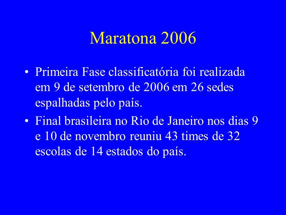 Maratona 2006 Primeira Fase classificatória foi realizada em 9 de setembro de 2006 em 26 sedes espalhadas pelo país.