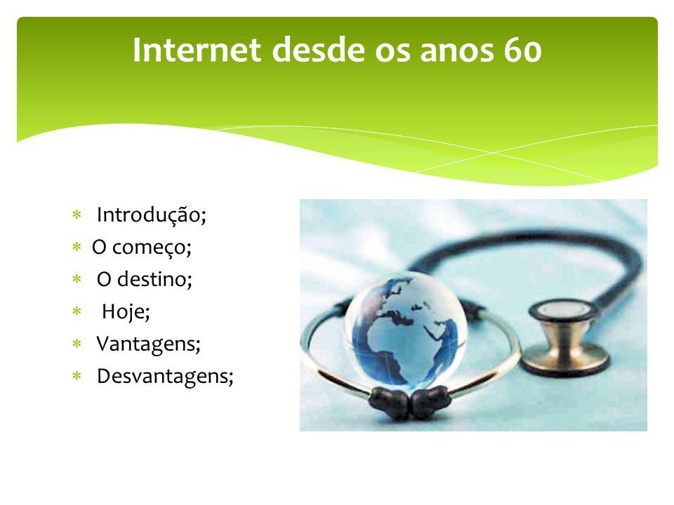 Internet desde os anos 60 Introdução; O começo; O destino; Hoje;