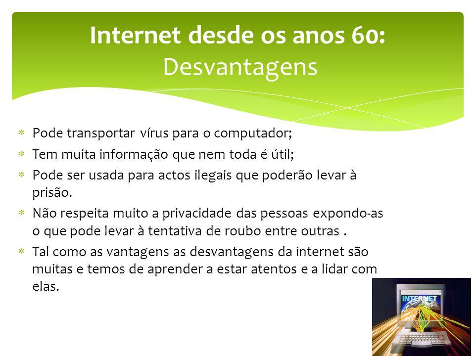 Internet desde os anos 60: Desvantagens
