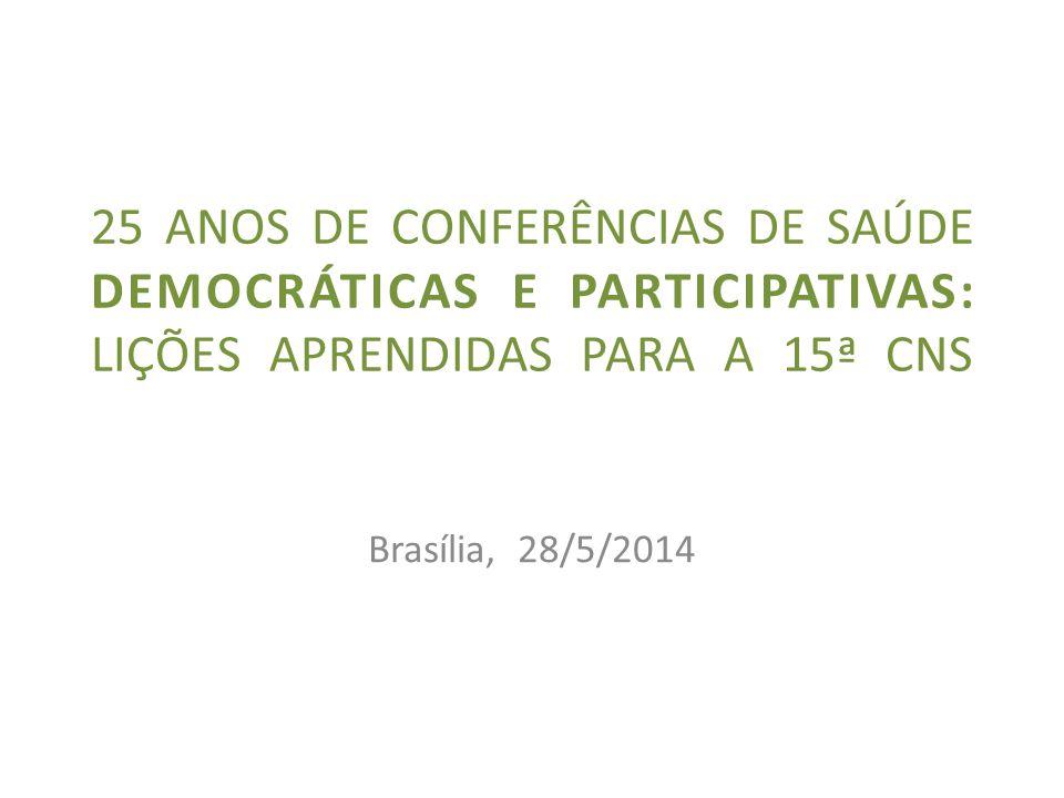 25 anos de conferências de saúde DEMOCRÁTICAS E PARTICIPATIVAS: lições aprendidas PARA A 15ª cns
