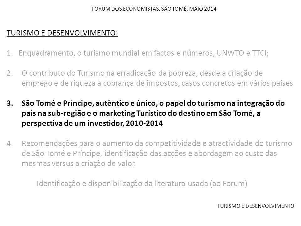 FORUM DOS ECONOMISTAS, SÃO TOMÉ, MAIO 2014