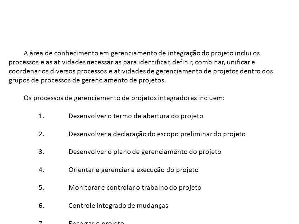 A área de conhecimento em gerenciamento de integração do projeto inclui os