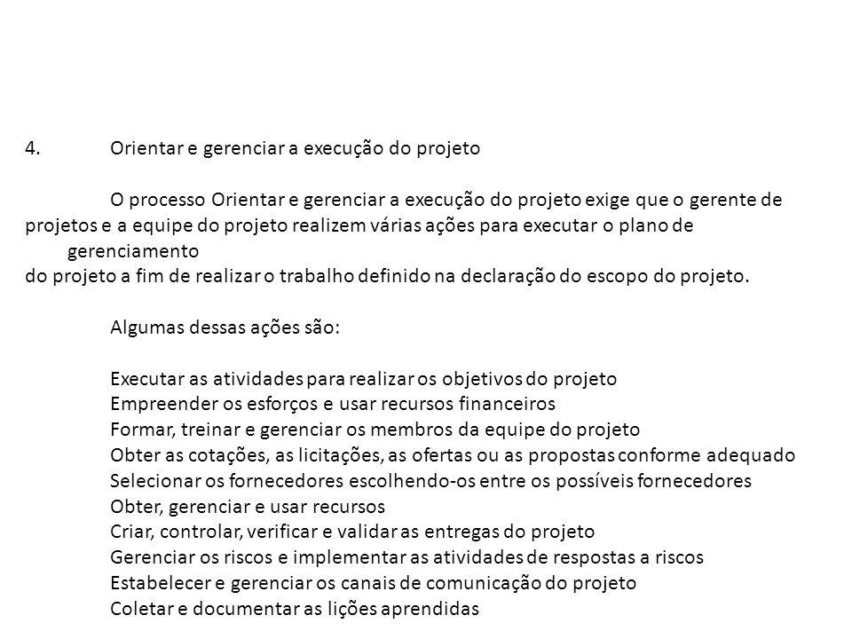 4. Orientar e gerenciar a execução do projeto