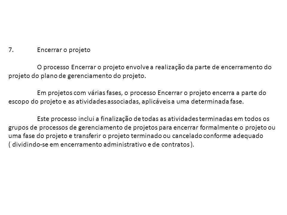 7. Encerrar o projeto O processo Encerrar o projeto envolve a realização da parte de encerramento do.