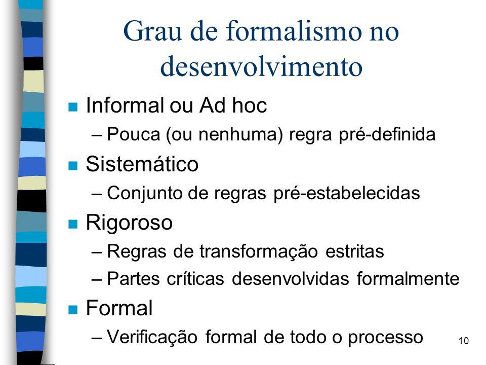 Grau de formalismo no desenvolvimento