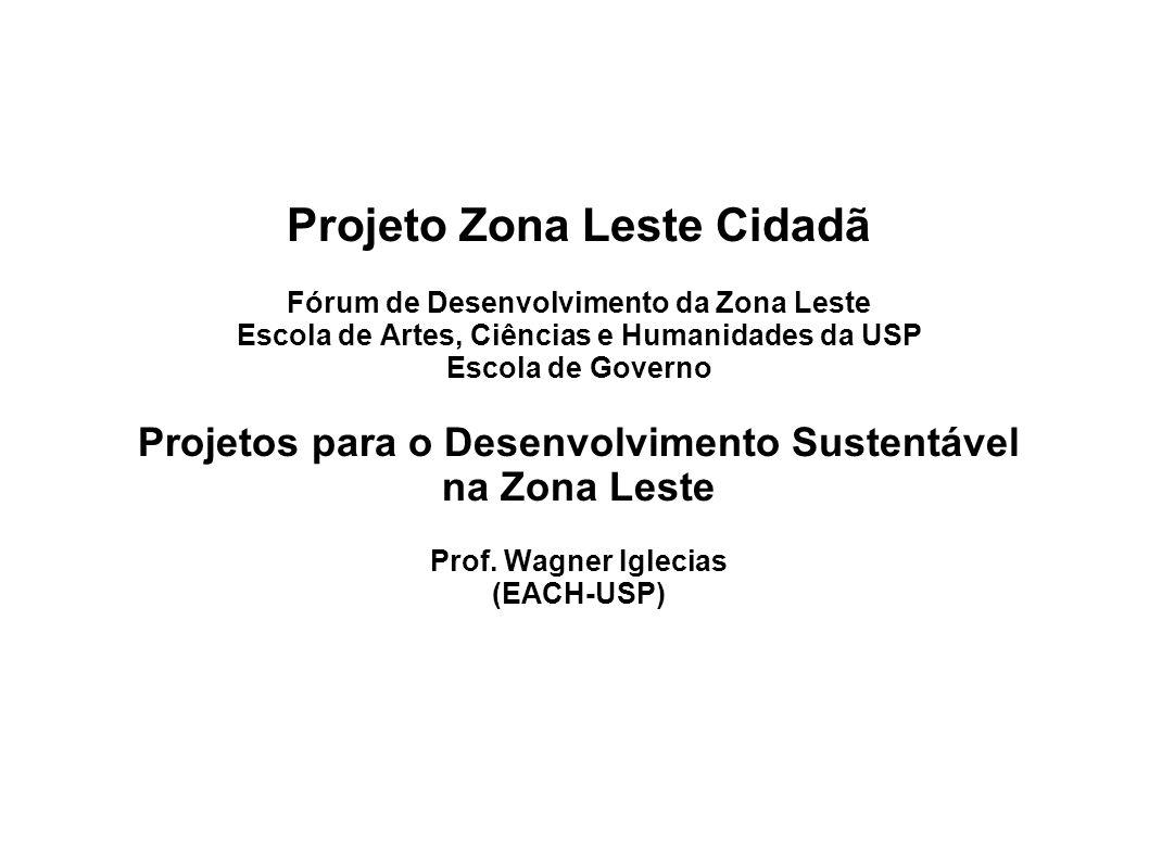 Projeto Zona Leste Cidadã Fórum de Desenvolvimento da Zona Leste Escola de Artes, Ciências e Humanidades da USP Escola de Governo Projetos para o Desenvolvimento Sustentável na Zona Leste Prof.
