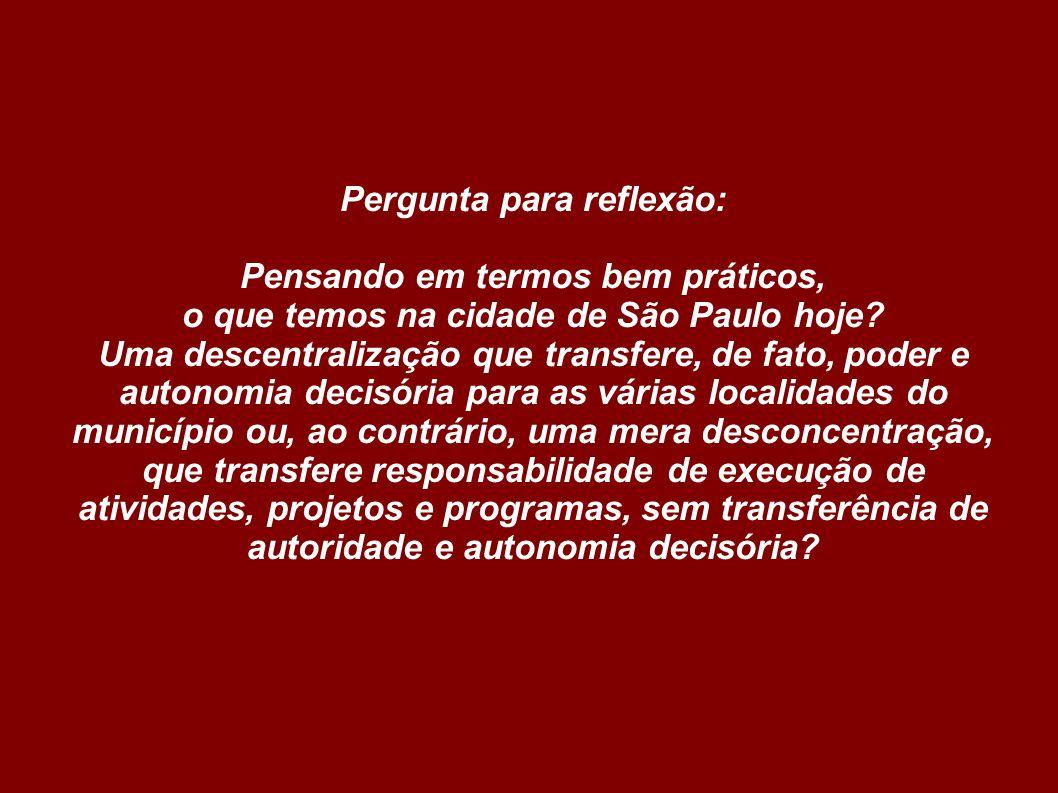 Pergunta para reflexão: Pensando em termos bem práticos, o que temos na cidade de São Paulo hoje.