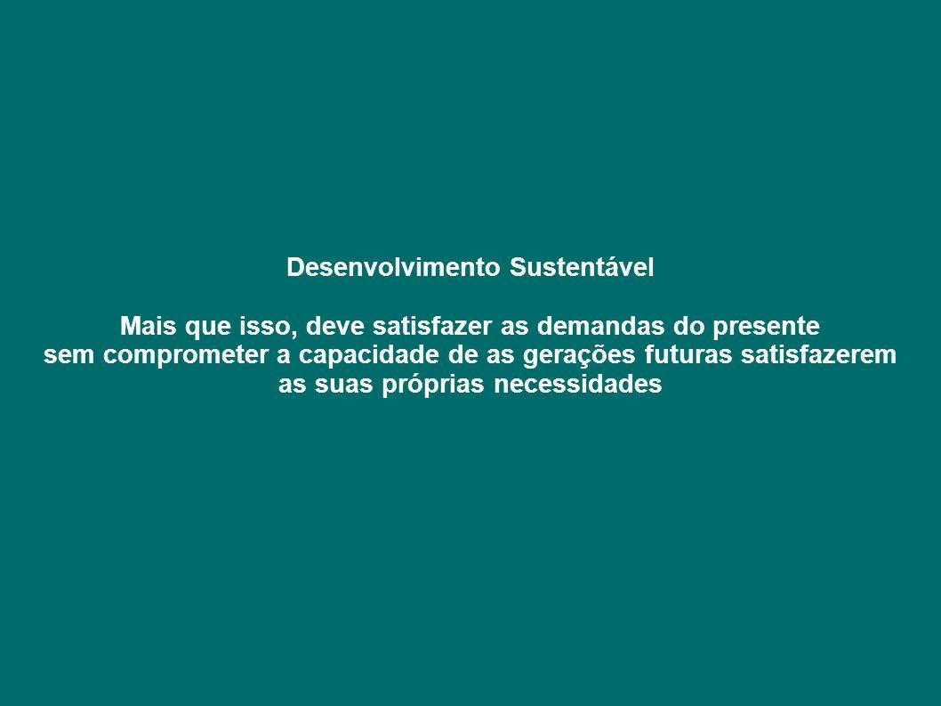 Desenvolvimento Sustentável Mais que isso, deve satisfazer as demandas do presente sem comprometer a capacidade de as gerações futuras satisfazerem as suas próprias necessidades