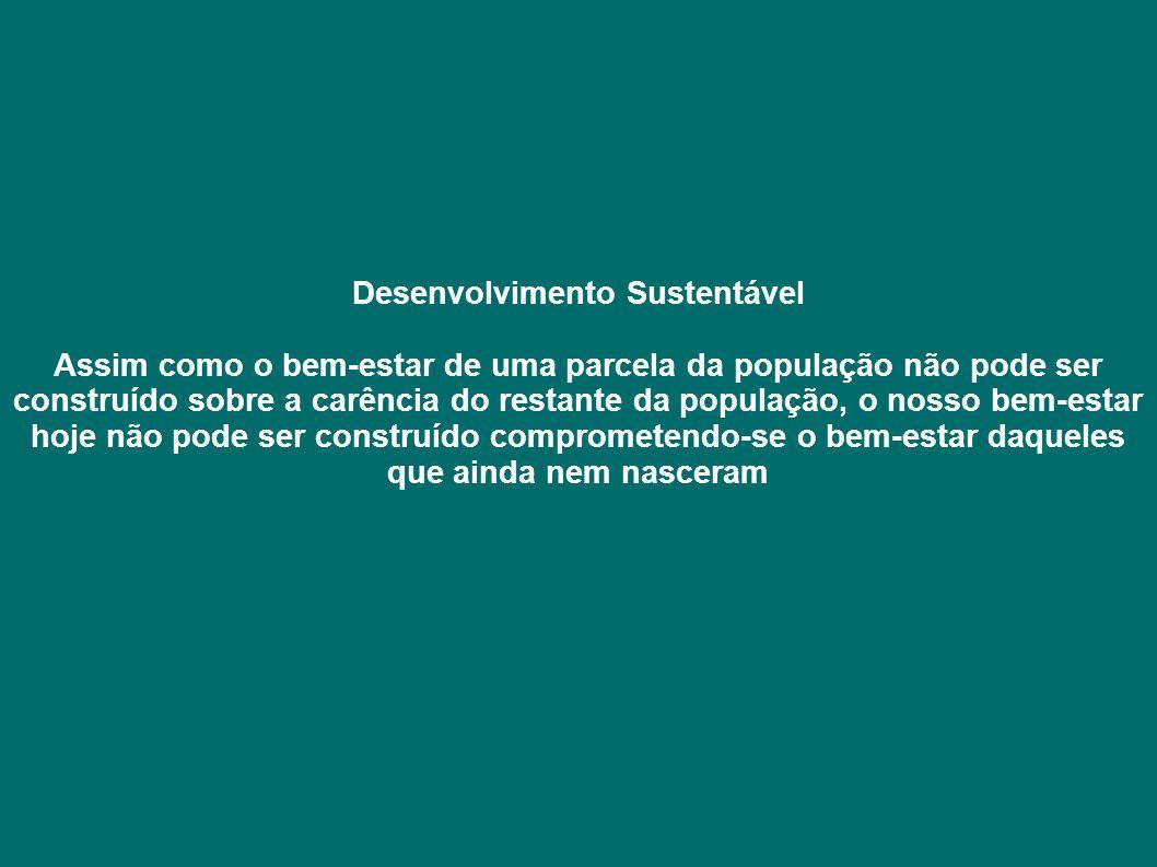 Desenvolvimento Sustentável Assim como o bem-estar de uma parcela da população não pode ser construído sobre a carência do restante da população, o nosso bem-estar hoje não pode ser construído comprometendo-se o bem-estar daqueles que ainda nem nasceram