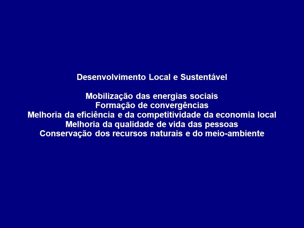 Desenvolvimento Local e Sustentável Mobilização das energias sociais Formação de convergências Melhoria da eficiência e da competitividade da economia local Melhoria da qualidade de vida das pessoas Conservação dos recursos naturais e do meio-ambiente