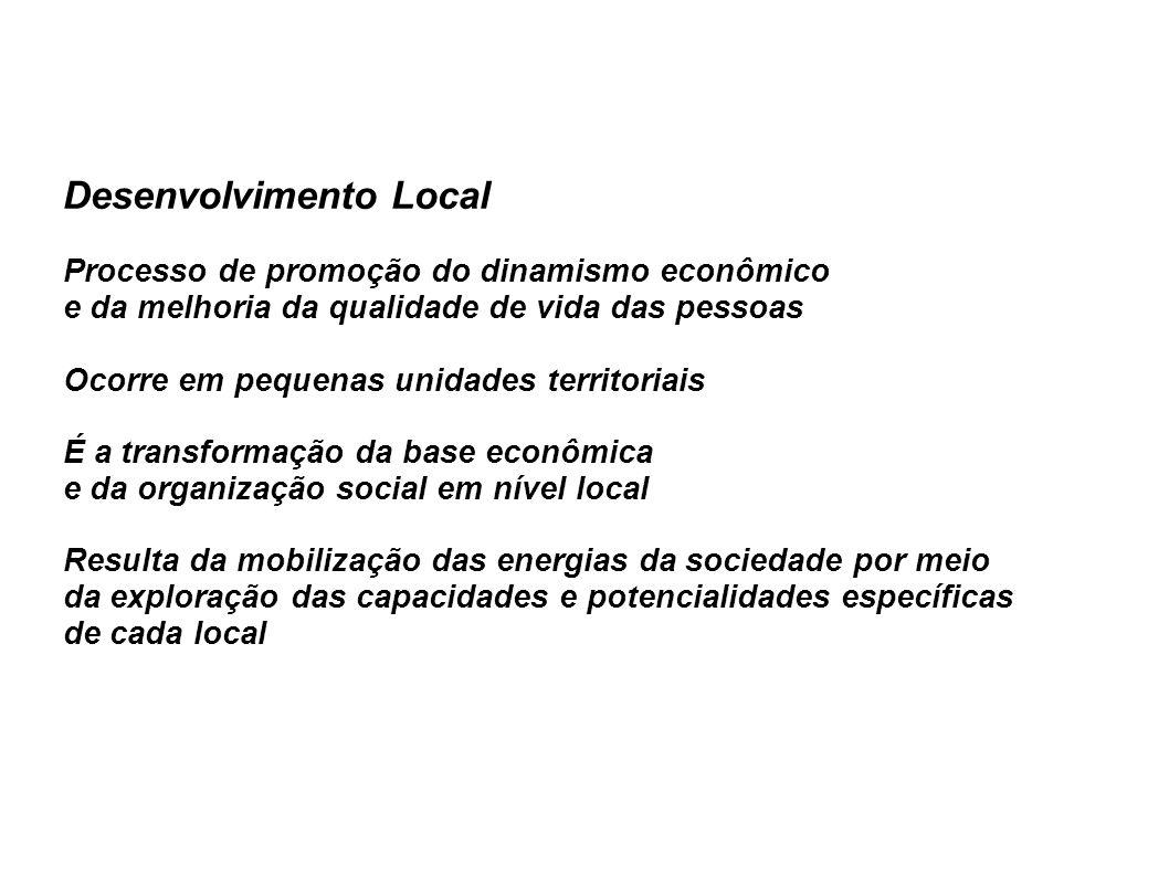 Desenvolvimento Local Processo de promoção do dinamismo econômico e da melhoria da qualidade de vida das pessoas Ocorre em pequenas unidades territoriais É a transformação da base econômica e da organização social em nível local Resulta da mobilização das energias da sociedade por meio da exploração das capacidades e potencialidades específicas de cada local