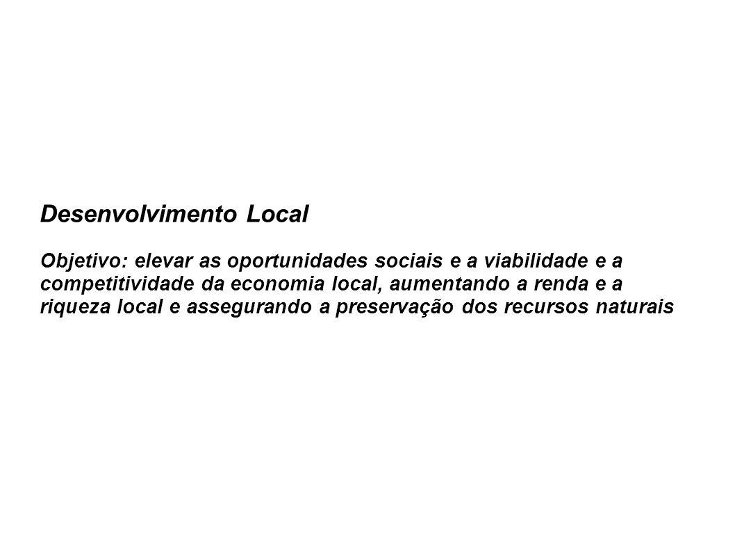 Desenvolvimento Local Objetivo: elevar as oportunidades sociais e a viabilidade e a competitividade da economia local, aumentando a renda e a riqueza local e assegurando a preservação dos recursos naturais