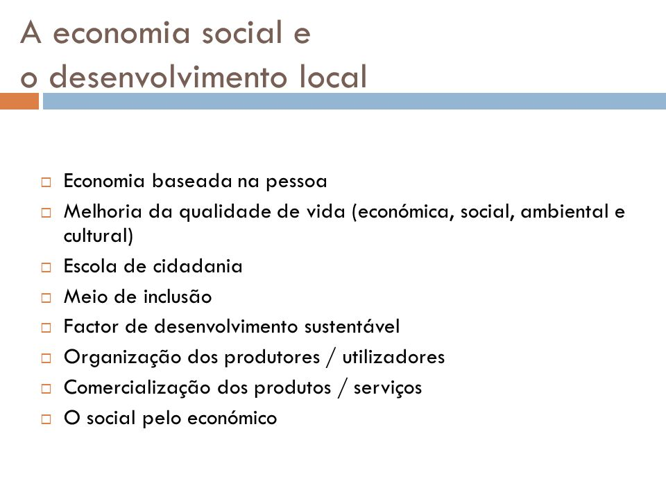 A economia social e o desenvolvimento local