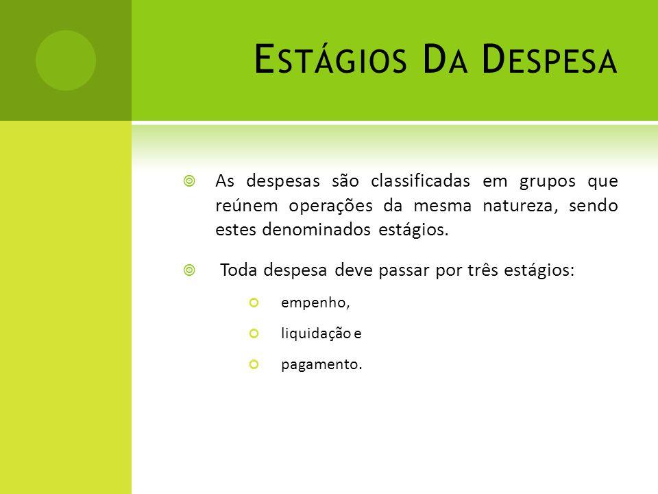 Estágios Da Despesa As despesas são classificadas em grupos que reúnem operações da mesma natureza, sendo estes denominados estágios.