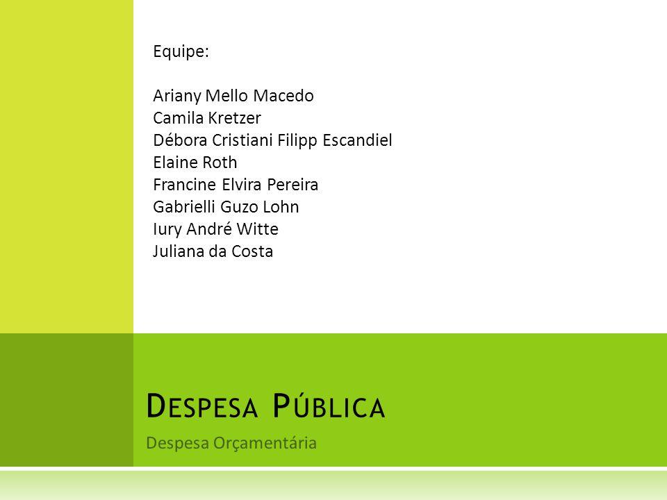 Despesa Pública Equipe: Ariany Mello Macedo Camila Kretzer
