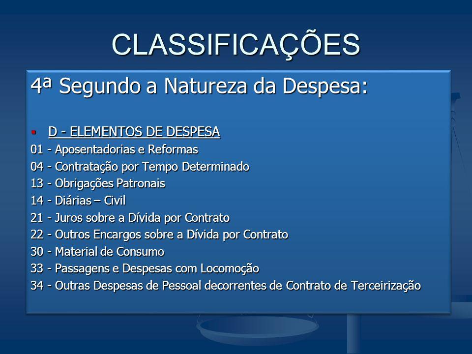 CLASSIFICAÇÕES 4ª Segundo a Natureza da Despesa: