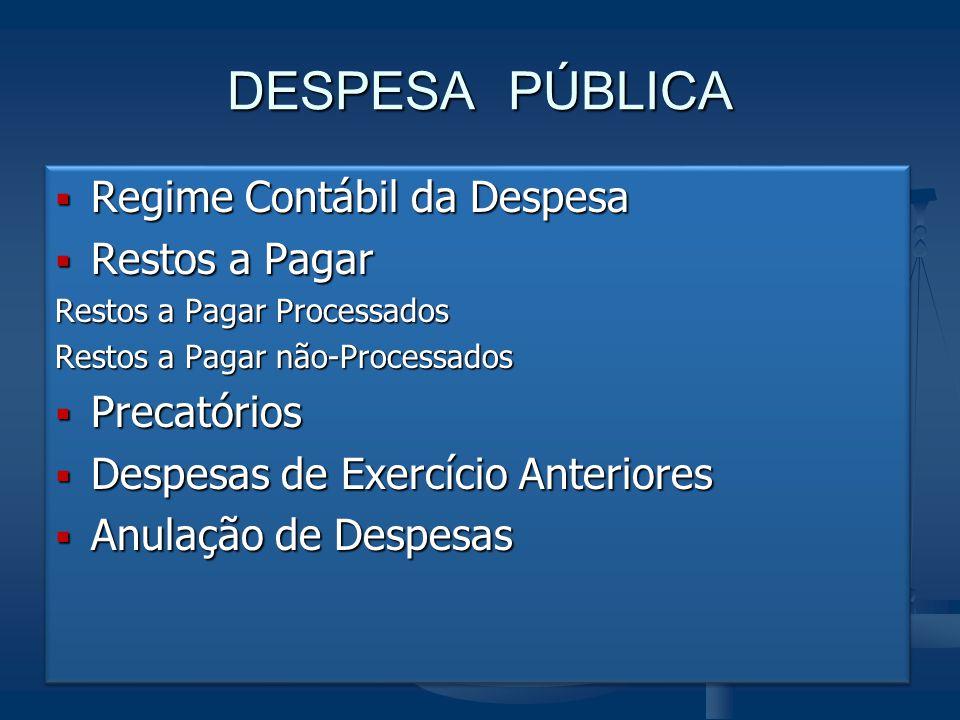 DESPESA PÚBLICA Regime Contábil da Despesa Restos a Pagar Precatórios