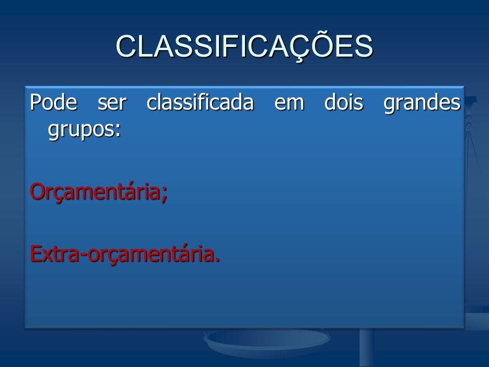 CLASSIFICAÇÕES Pode ser classificada em dois grandes grupos: Orçamentária; Extra-orçamentária.