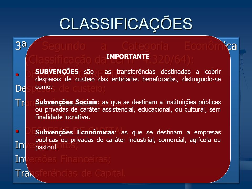CLASSIFICAÇÕES IMPORTANTE.