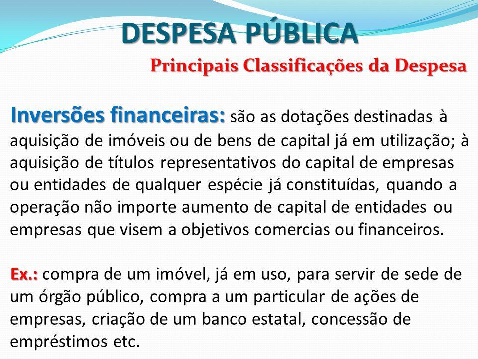 DESPESA PÚBLICA Principais Classificações da Despesa.