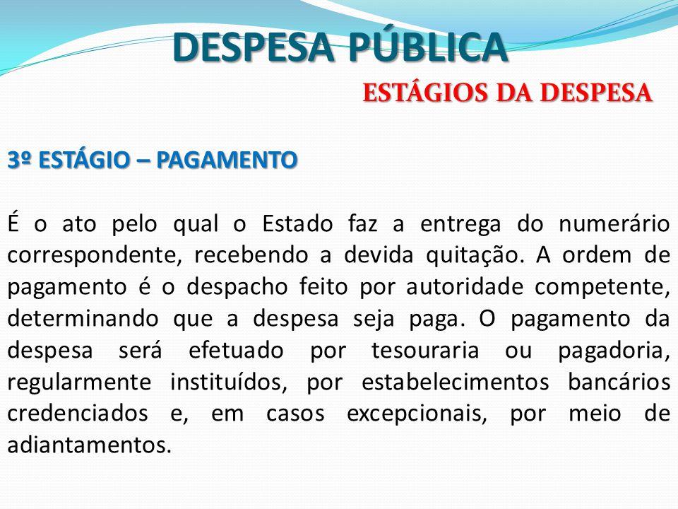 DESPESA PÚBLICA ESTÁGIOS DA DESPESA 3º ESTÁGIO – PAGAMENTO