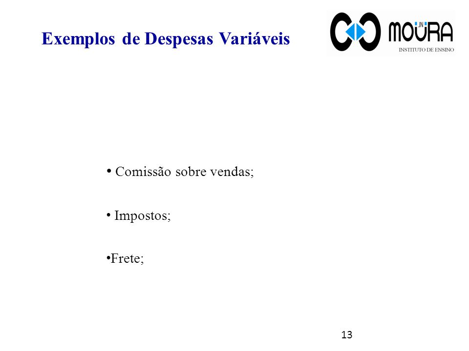 Exemplos de Despesas Variáveis