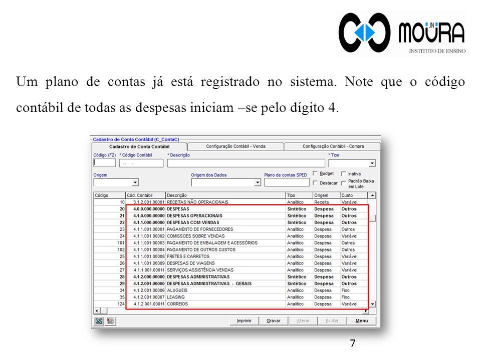 Um plano de contas já está registrado no sistema