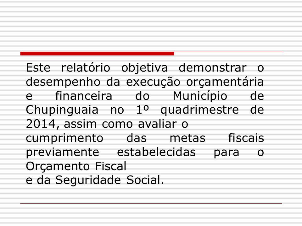 Este relatório objetiva demonstrar o desempenho da execução orçamentária e financeira do Município de Chupinguaia no 1º quadrimestre de 2014, assim como avaliar o