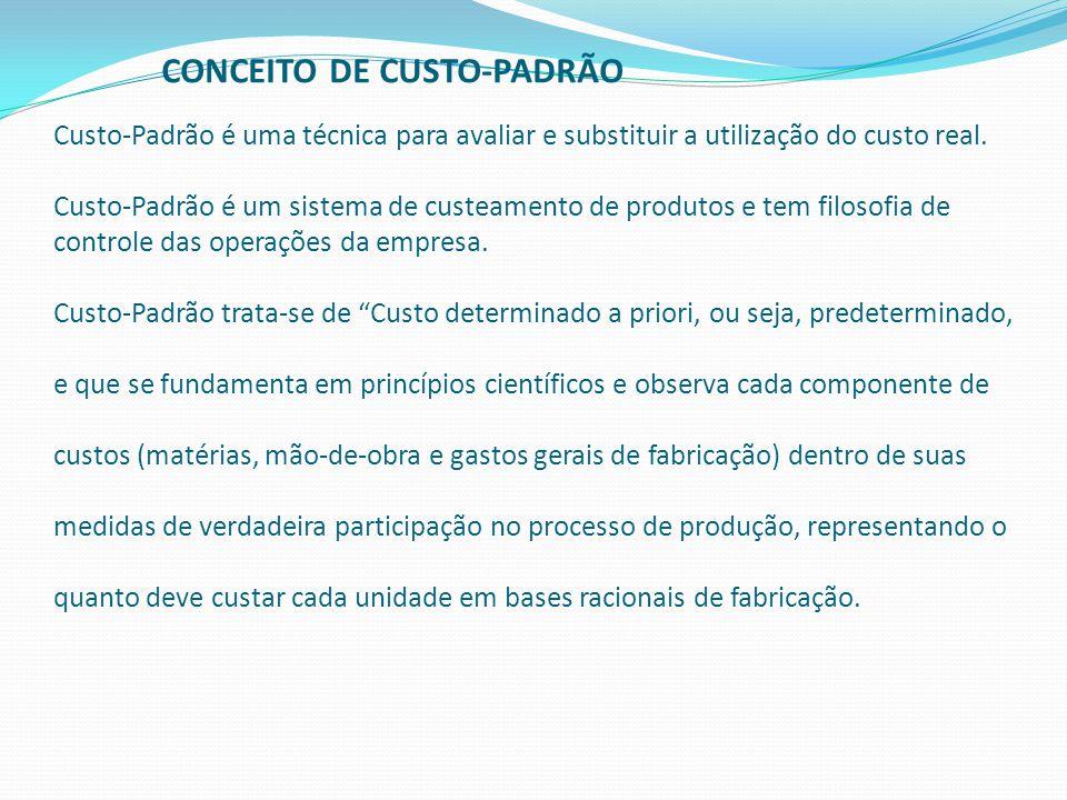 CONCEITO DE CUSTO-PADRÃO Custo-Padrão é uma técnica para avaliar e substituir a utilização do custo real.