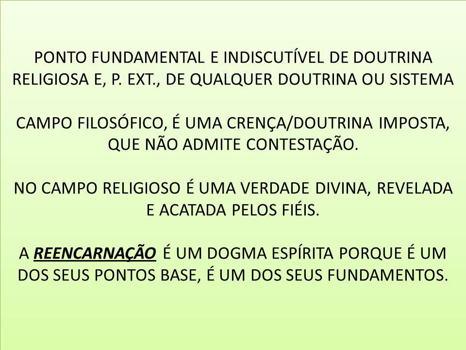 PONTO FUNDAMENTAL E INDISCUTÍVEL DE DOUTRINA RELIGIOSA E, P. EXT