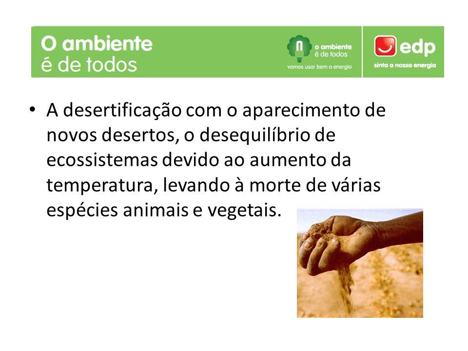 A desertificação com o aparecimento de novos desertos, o desequilíbrio de ecossistemas devido ao aumento da temperatura, levando à morte de várias espécies animais e vegetais.