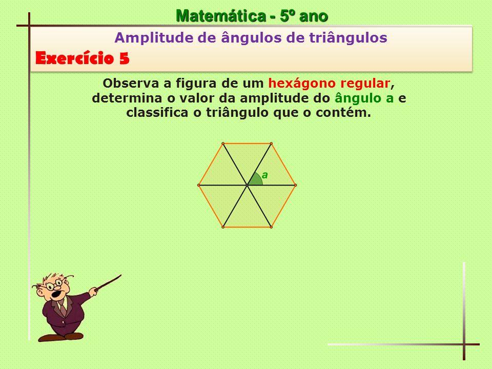 Exercício 5 Matemática - 5º ano Amplitude de ângulos de triângulos