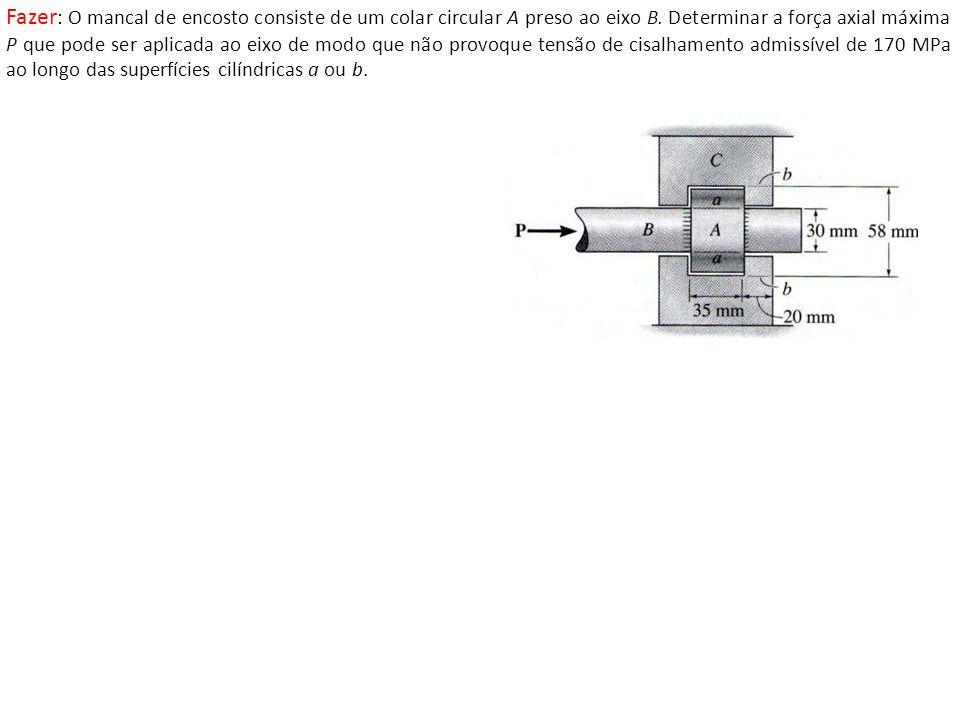Fazer: O mancal de encosto consiste de um colar circular A preso ao eixo B.