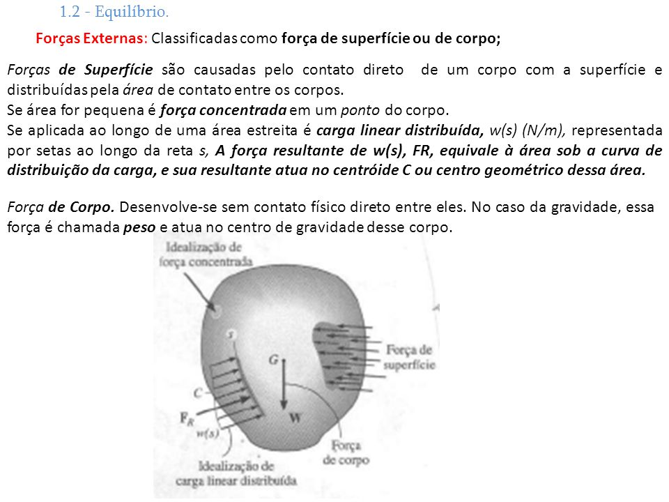 1.2 - Equilíbrio. Forças Externas: Classificadas como força de superfície ou de corpo;