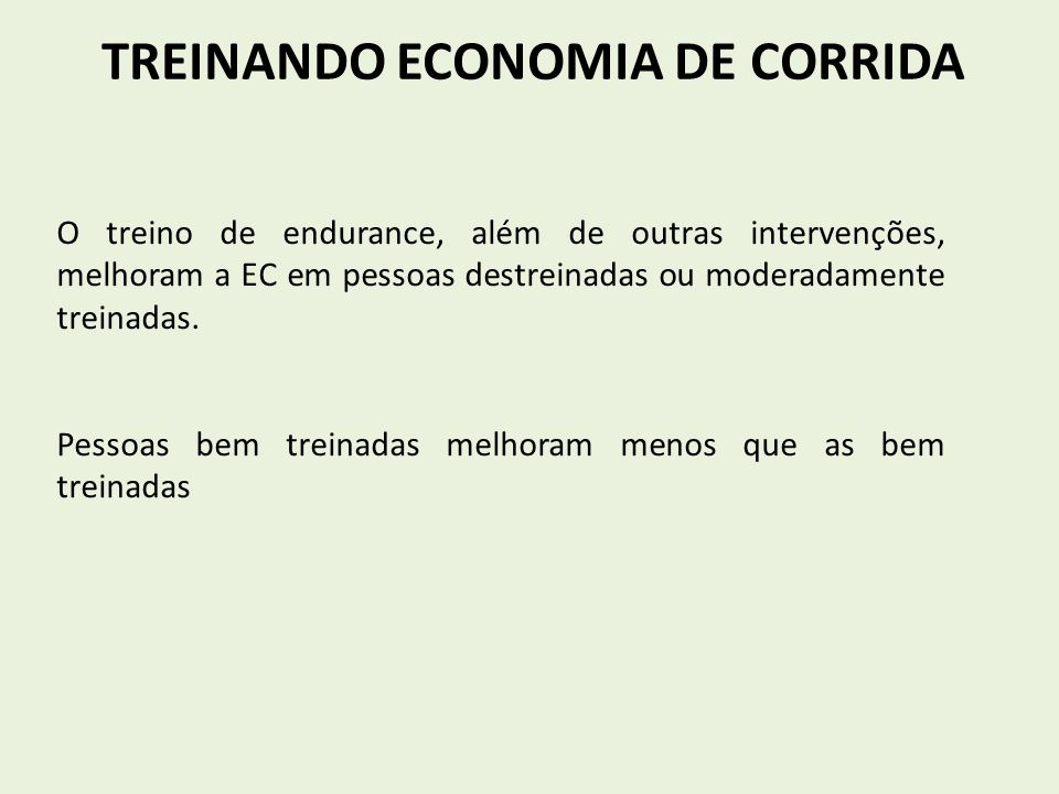 TREINANDO ECONOMIA DE CORRIDA