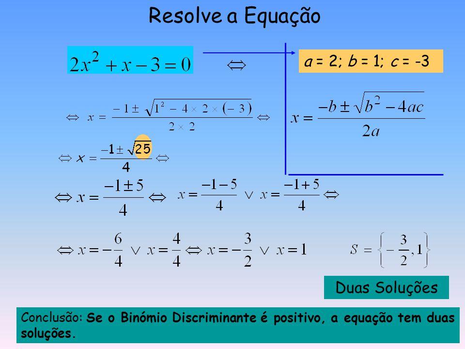 Resolve a Equação a = 2; b = 1; c = -3 Duas Soluções