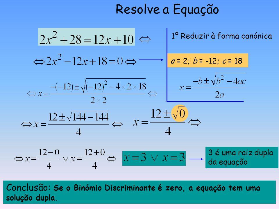 Resolve a Equação 1º Reduzir à forma canónica. a = 2; b = -12; c = 18. 3 é uma raiz dupla da equação.
