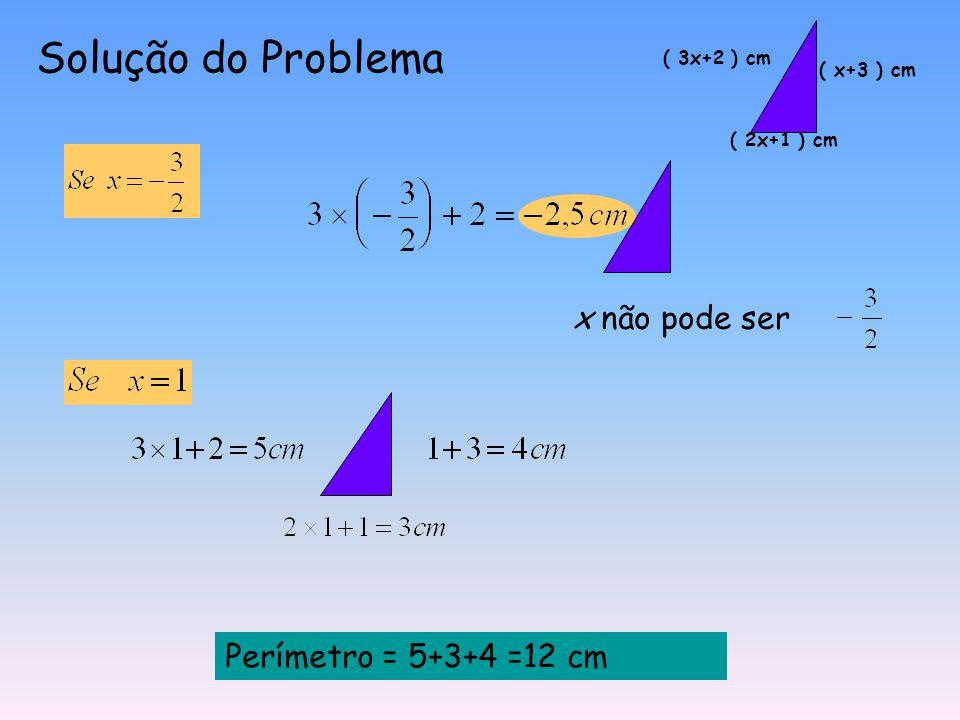Solução do Problema x não pode ser Perímetro = 5+3+4 =12 cm