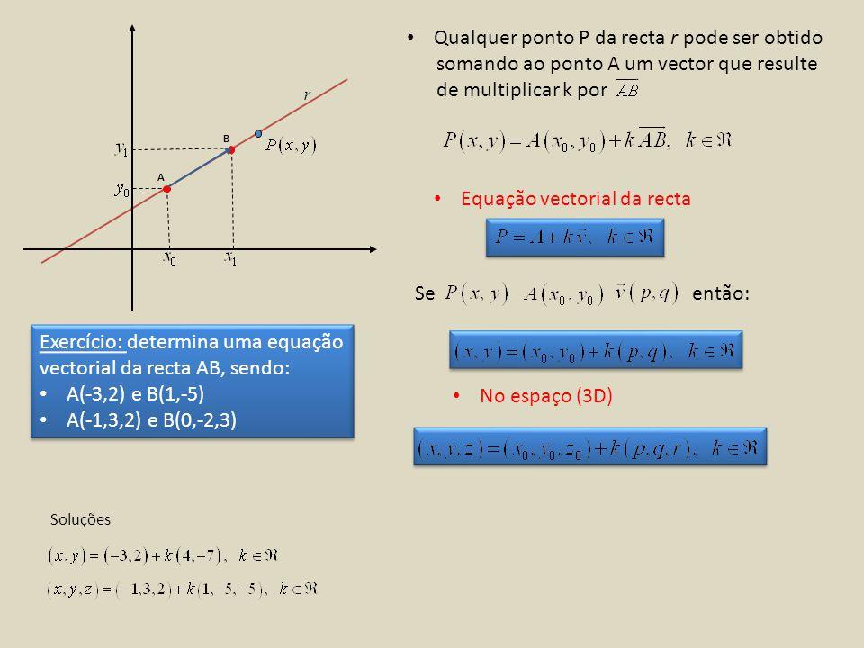 Qualquer ponto P da recta r pode ser obtido