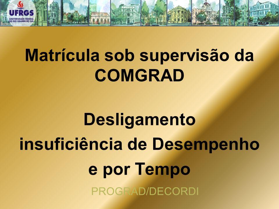 Matrícula sob supervisão da COMGRAD insuficiência de Desempenho