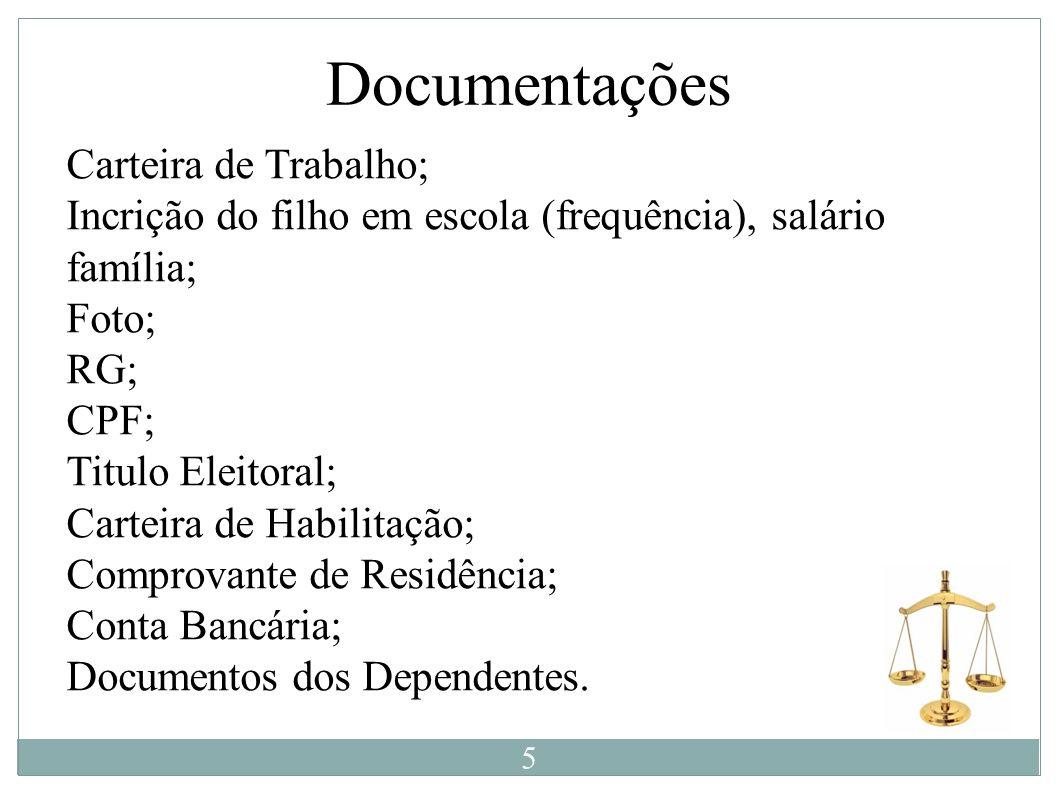 Documentações Carteira de Trabalho;