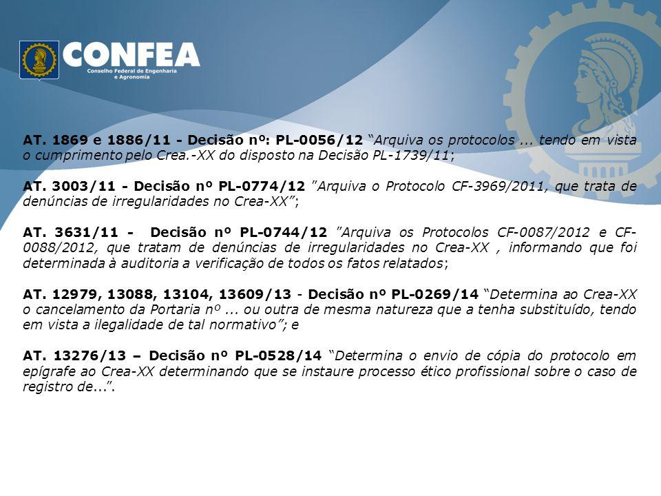 AT. 1869 e 1886/11 - Decisão nº: PL-0056/12 Arquiva os protocolos