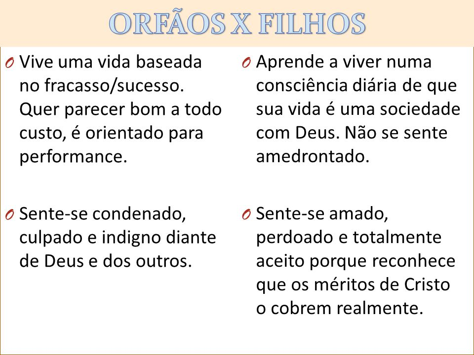 kjlklkl ORFÃOS X FILHOS. Vive uma vida baseada no fracasso/sucesso. Quer parecer bom a todo custo, é orientado para performance.