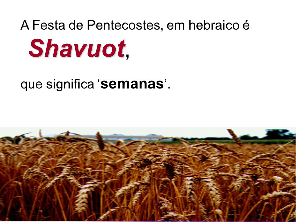 Shavuot, A Festa de Pentecostes, em hebraico é